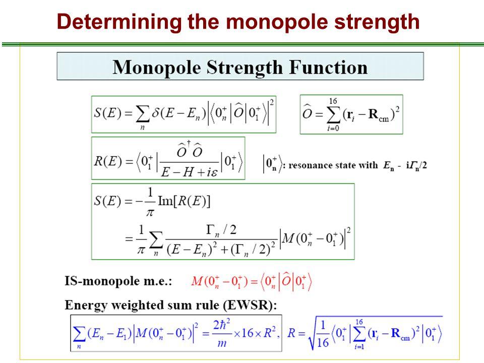 Determining the monopole strength