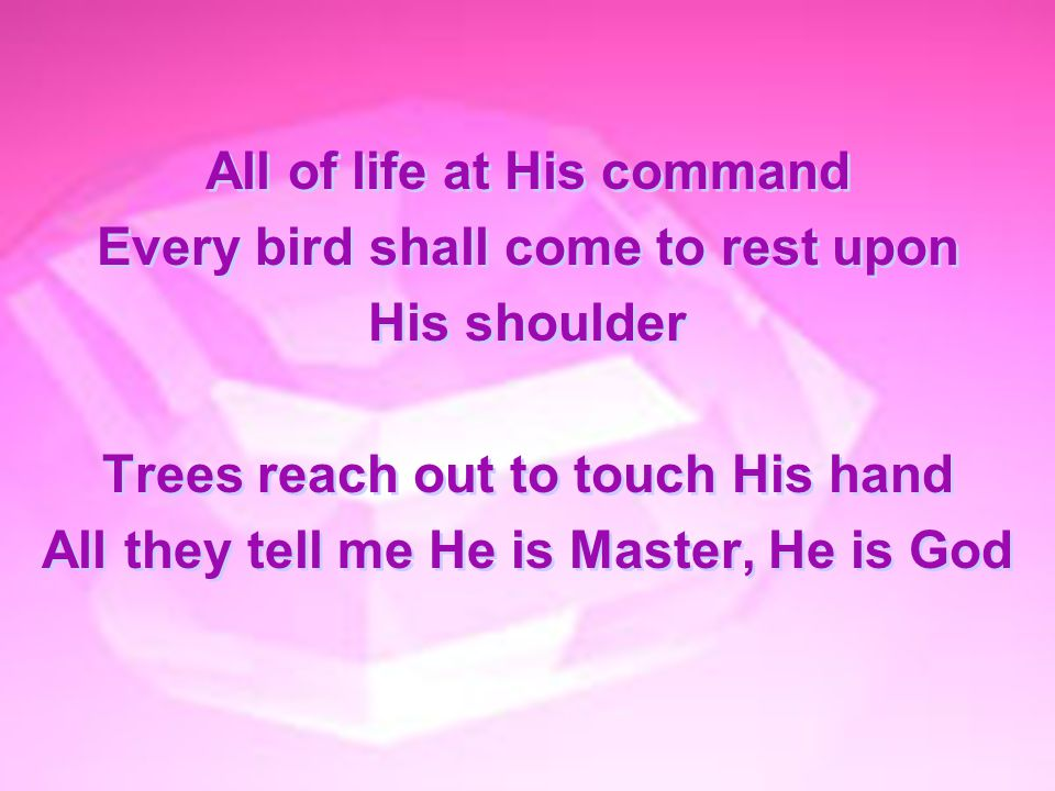All of life at His command Every bird shall come to rest upon His shoulder Trees reach out to touch His hand All they tell me He is Master, He is God