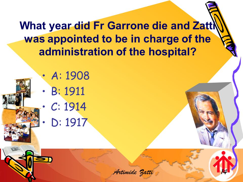 Artimide Zatti14 What year did Fr Garrone die and Zatti was appointed to be in charge of the administration of the hospital.