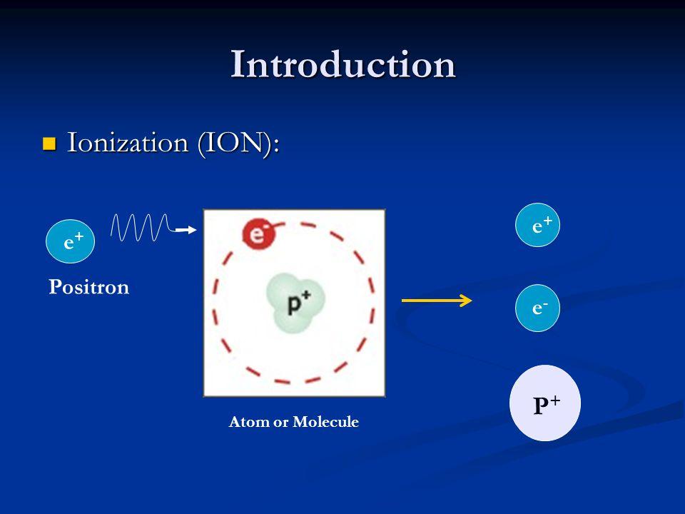 Introduction Ionization (ION): Ionization (ION): Atom or Molecule e+e+ Positron e+e+ e-e- P+P+