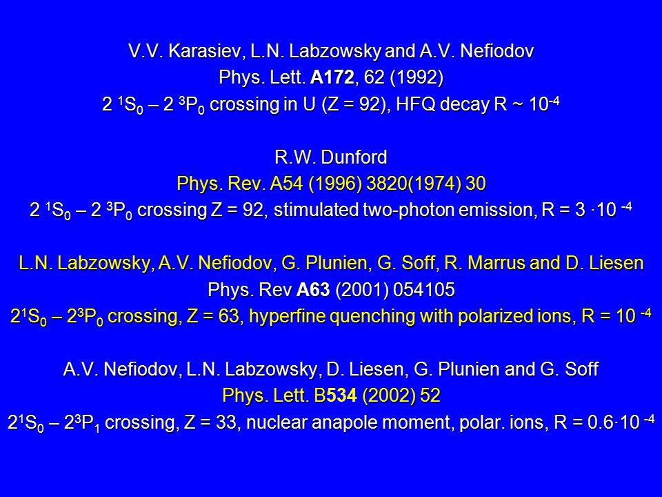 V.V. Karasiev, L.N. Labzowsky and A.V. Nefiodov Phys.