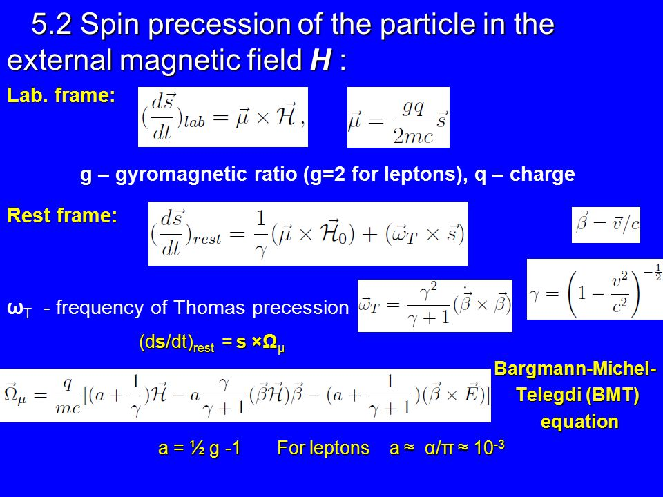 5.2 Spin precession of the particle in the external magnetic field H : Lab.