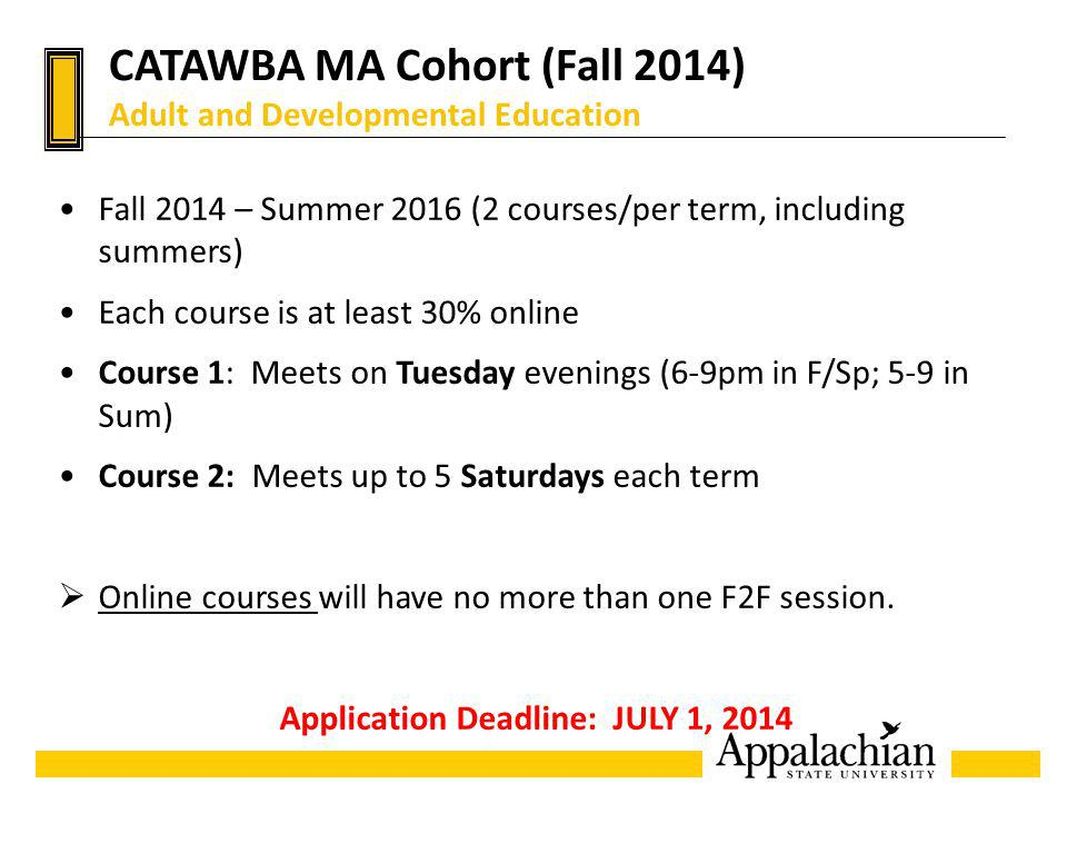 CATAWBA MA Cohort (Fall 2014) Adult and Developmental Education Fall 2014 – Summer 2016 (2 courses/per term, including summers) Each course is at leas