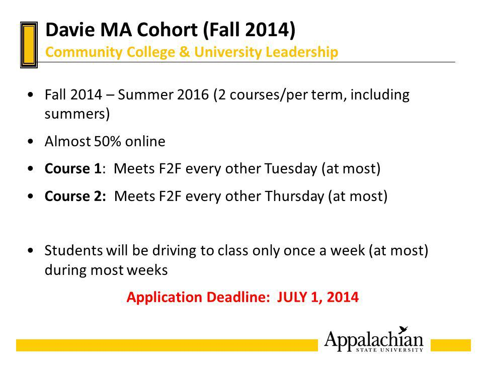 Davie MA Cohort (Fall 2014) Community College & University Leadership Fall 2014 – Summer 2016 (2 courses/per term, including summers) Almost 50% onlin