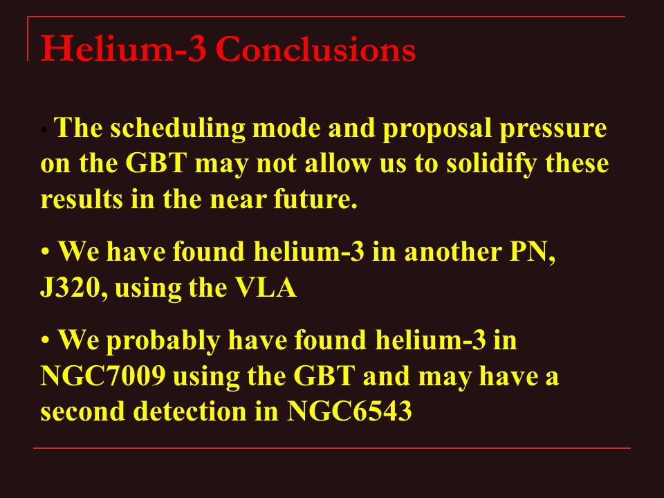Helium-3 Conclusions The scheduling mode and proposal pressure on the GBT may not allow us to solidify these results in the near future. We have found