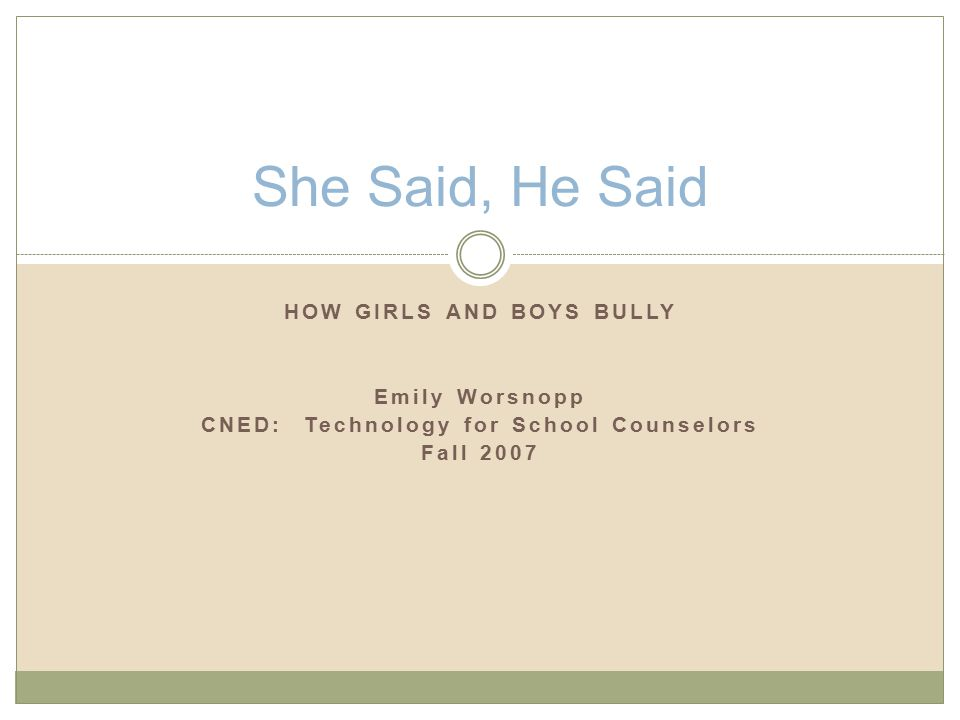 HOW GIRLS AND BOYS BULLY Emily Worsnopp CNED: Technology for School Counselors Fall 2007 She Said, He Said