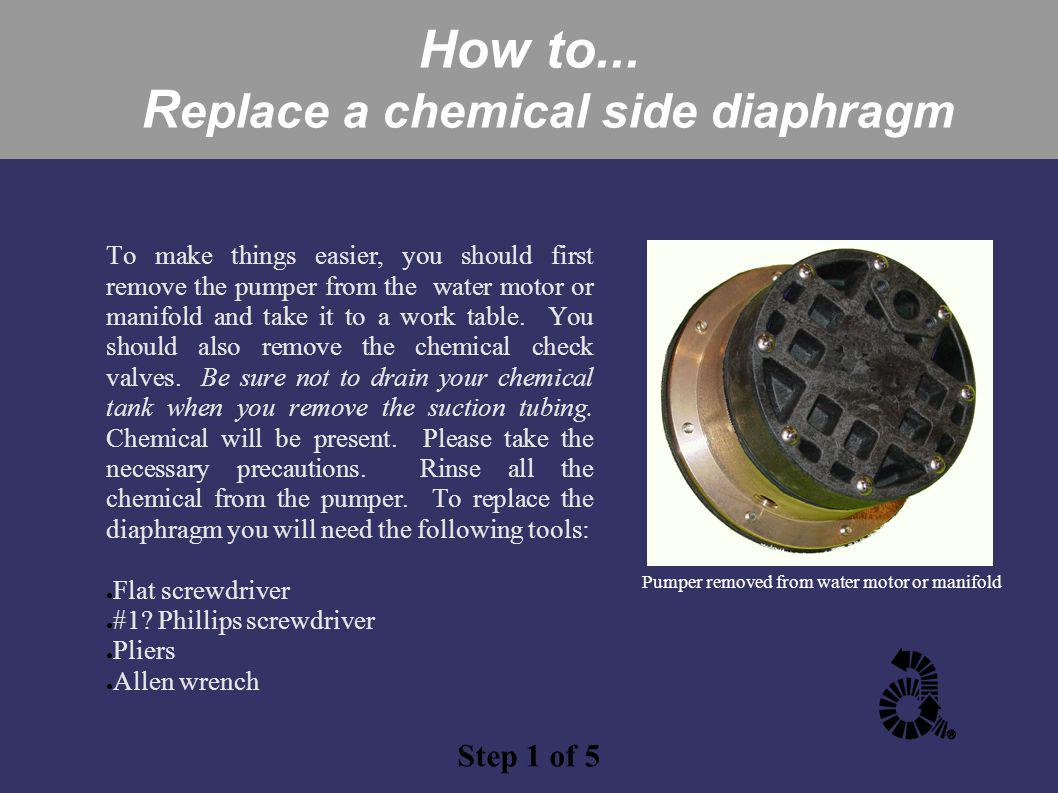 How to... R eplace a chemical side diaphragm To make things easier, you should first remove the pumper from the water motor or manifold and take it to