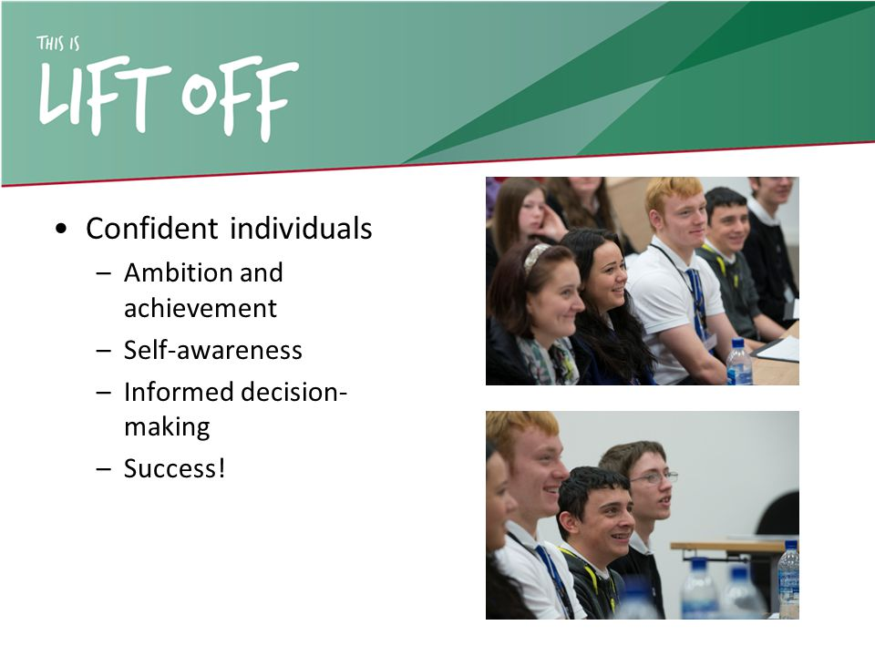 Confident individuals –Ambition and achievement –Self-awareness –Informed decision- making –Success!