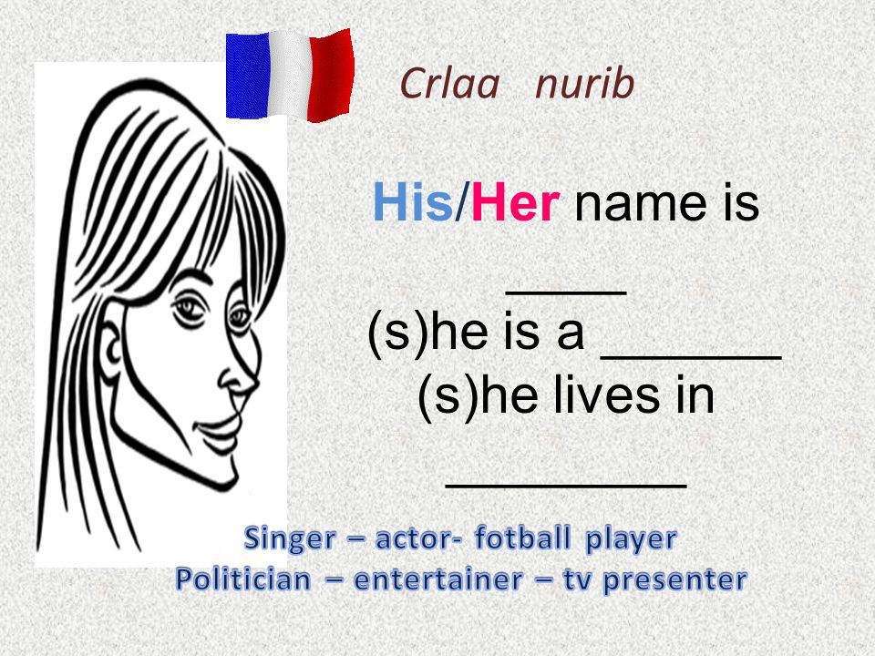 Crlaa nurib His/Her name is ____ (s)he is a ______ (s)he lives in ________