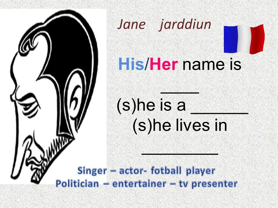 Jane jarddiun His/Her name is ____ (s)he is a ______ (s)he lives in ________