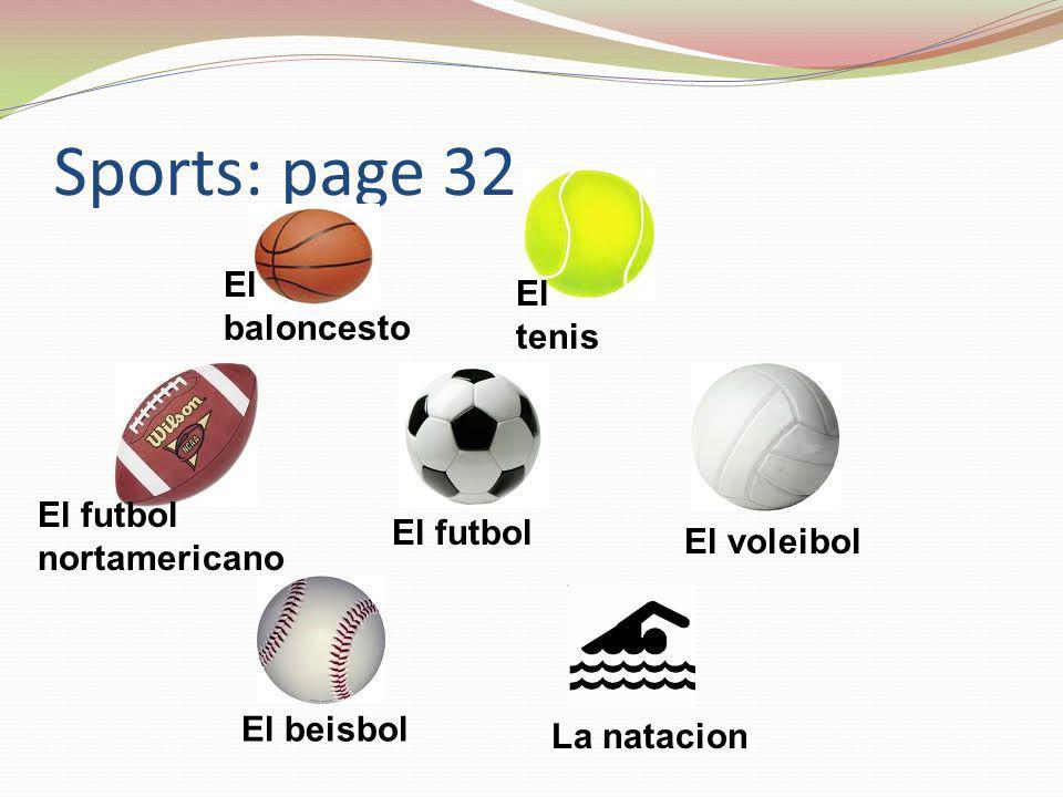 Sports: page 32 El baloncesto El tenis El futbol nortamericano El futbol El voleibol El beisbol La natacion