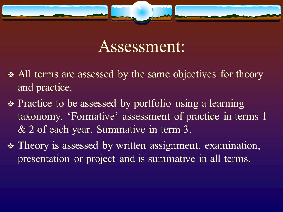 Assessment:  All terms are assessed by the same objectives for theory and practice.