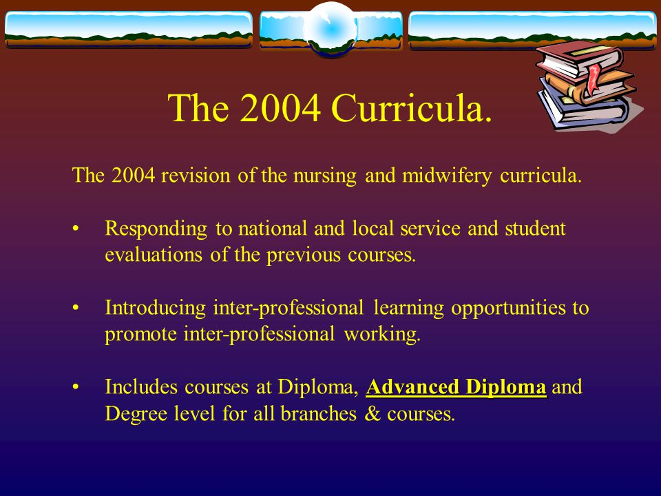 The 2004 Curricula. The 2004 revision of the nursing and midwifery curricula.