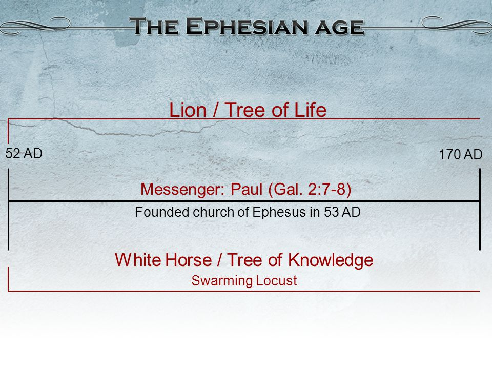 Lion / Tree of Life Messenger: Paul (Gal. 2:7-8) 170 AD 52 AD White Horse / Tree of Knowledge Swarming Locust Founded church of Ephesus in 53 AD