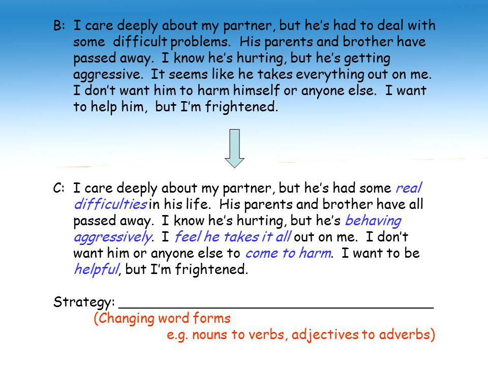 B: I care deeply about my partner, but he's had to deal with some difficult problems.
