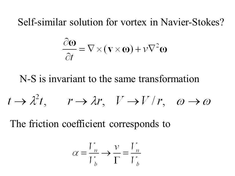Self-similar solution for vortex in Navier-Stokes? N-S is invariant to the same transformation The friction coefficient corresponds to