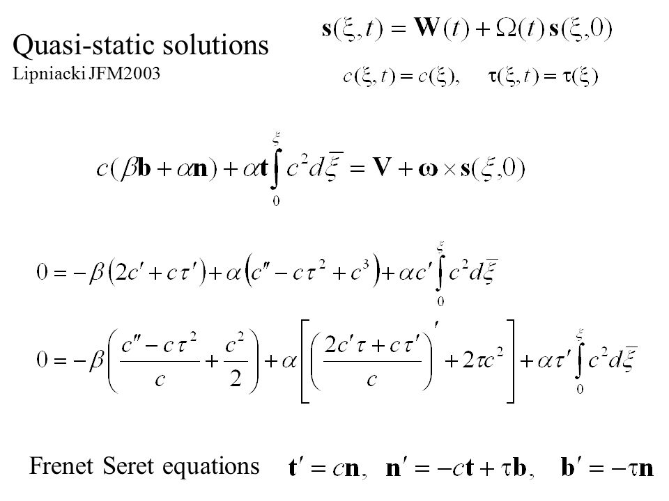 Quasi-static solutions Lipniacki JFM2003 Frenet Seret equations