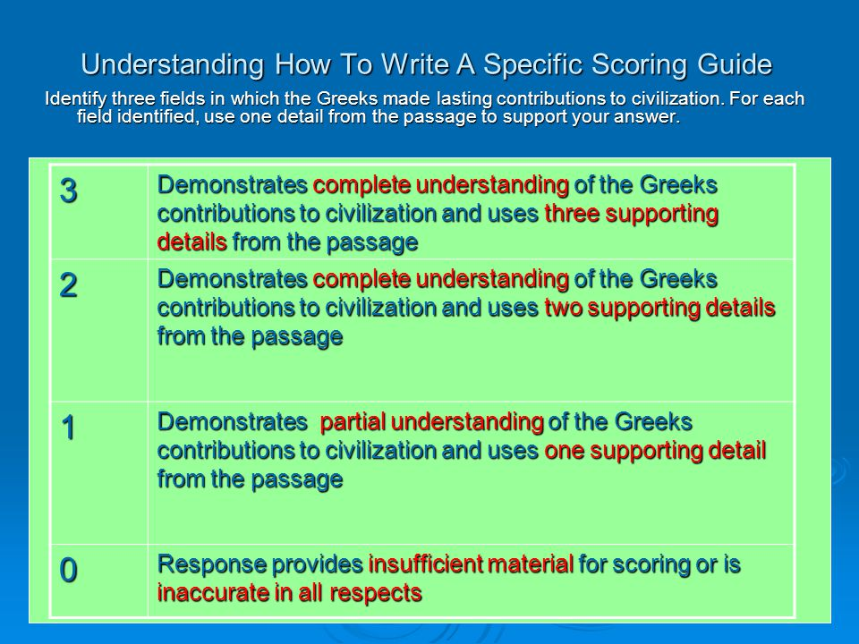 Understanding How To Write A Specific Scoring Guide Identify three fields in which the Greeks made lasting contributions to civilization.