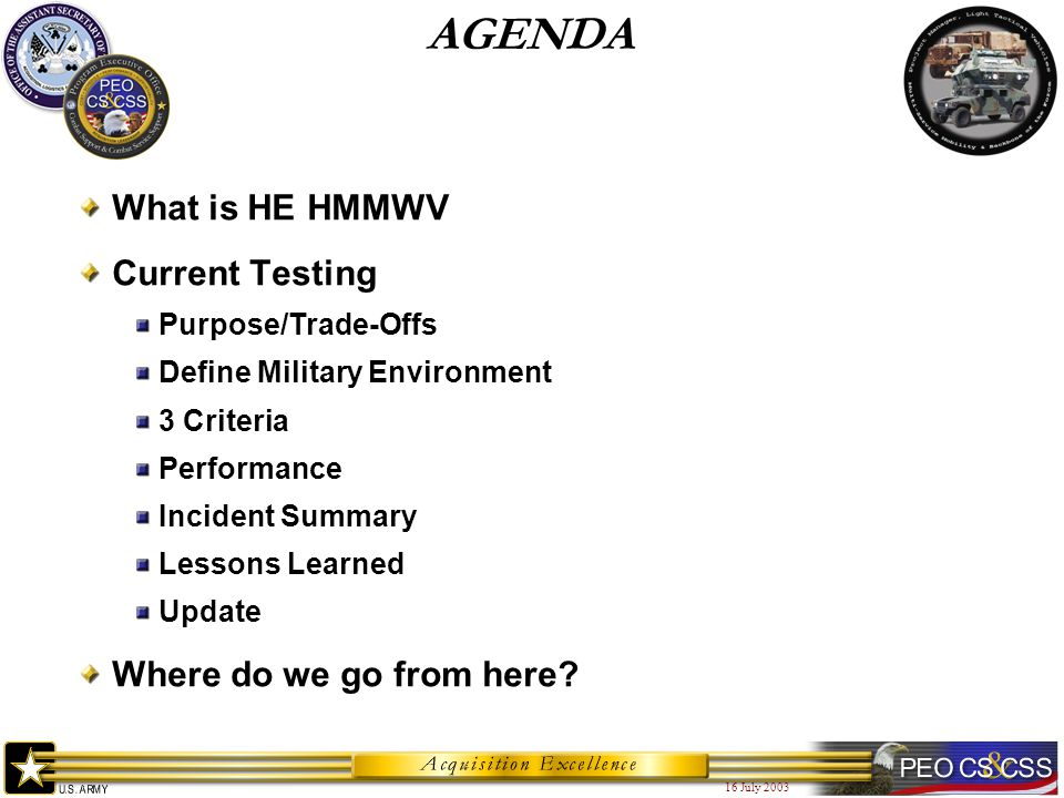16 July 2003 AGENDA What is HE HMMWV Current Testing Purpose/Trade-Offs Define Military Environment 3 Criteria Performance Incident Summary Lessons Learned Update Where do we go from here