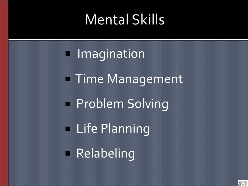  Imagination  Time Management  Problem Solving  Life Planning  Relabeling