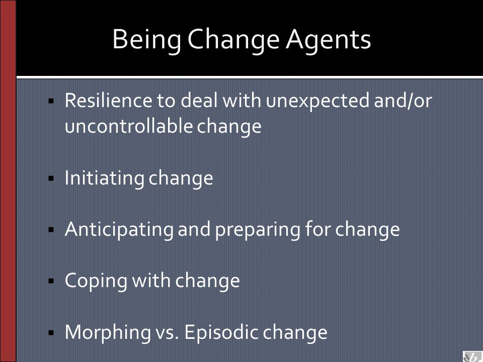 Being Change Agents  Resilience to deal with unexpected and/or uncontrollable change  Initiating change  Anticipating and preparing for change  Co