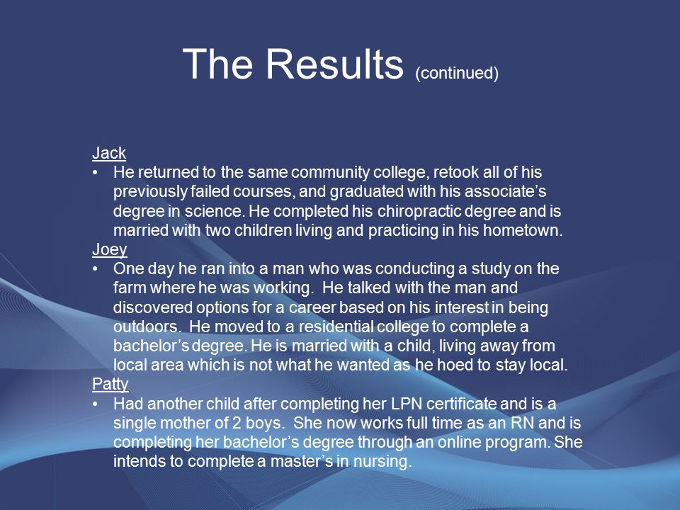 The Results (continued) Jack He returned to the same community college, retook all of his previously failed courses, and graduated with his associate's degree in science.
