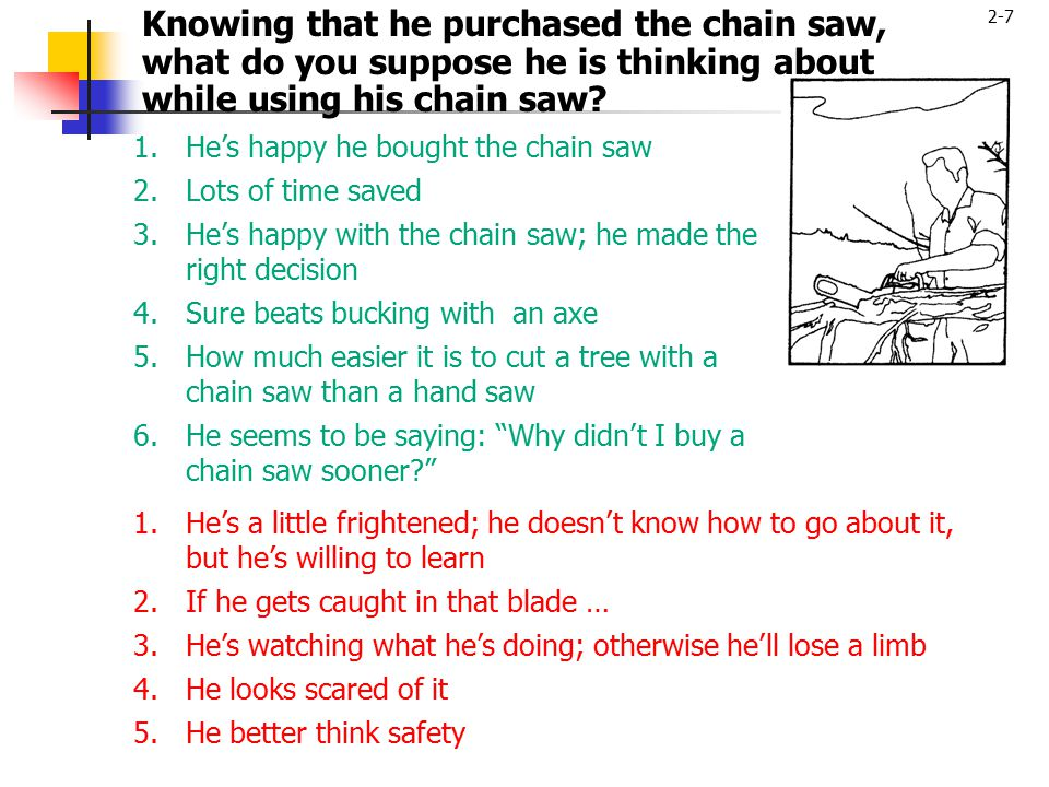 2-7 Knowing that he purchased the chain saw, what do you suppose he is thinking about while using his chain saw? 1.He's happy he bought the chain saw