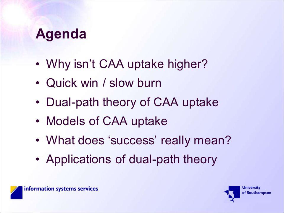 Agenda Why isn't CAA uptake higher.