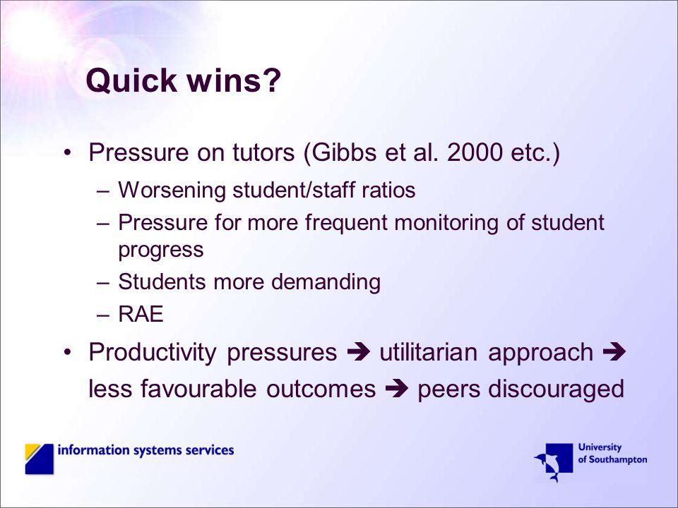 Quick wins. Pressure on tutors (Gibbs et al.