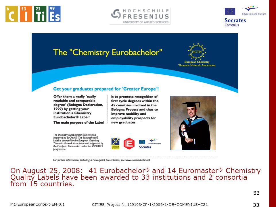 M1-EuropeanContext-EN-0.1 CITIES Project N. 129193-CP-1-2006-1-DE–COMENIUS–C21 33 On August 25, 2008: 41 Eurobachelor ® and 14 Euromaster ® Chemistry