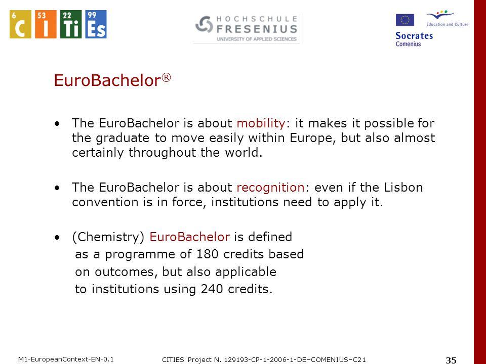 M1-EuropeanContext-EN-0.1 CITIES Project N. 129193-CP-1-2006-1-DE–COMENIUS–C21 35 EuroBachelor ® The EuroBachelor is about mobility: it makes it possi