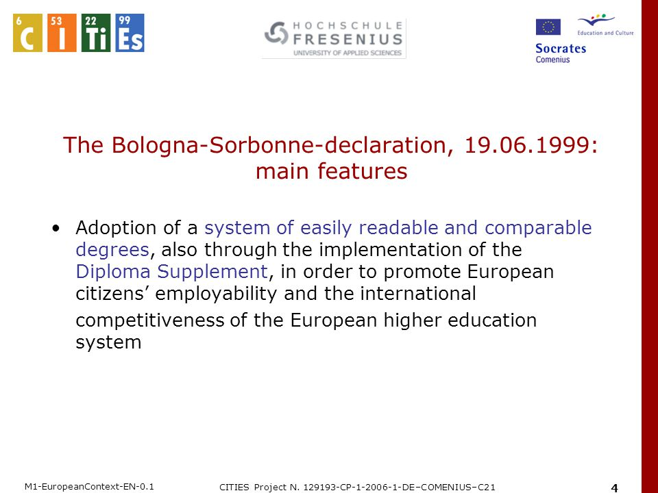 M1-EuropeanContext-EN-0.1 CITIES Project N. 129193-CP-1-2006-1-DE–COMENIUS–C21 4 The Bologna-Sorbonne-declaration, 19.06.1999: main features Adoption