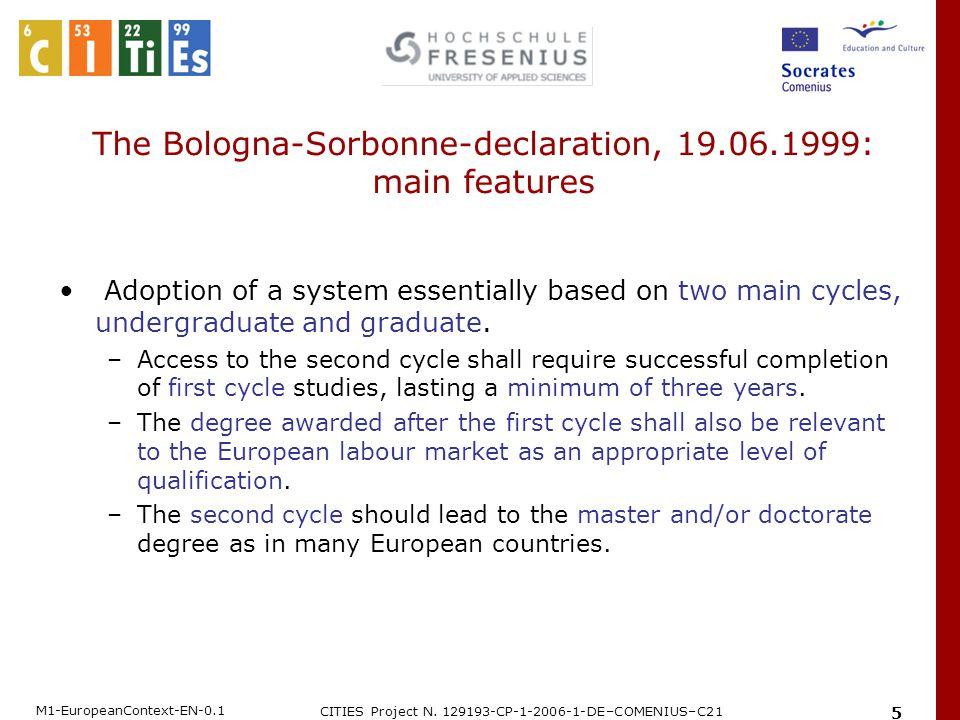 M1-EuropeanContext-EN-0.1 CITIES Project N. 129193-CP-1-2006-1-DE–COMENIUS–C21 5 The Bologna-Sorbonne-declaration, 19.06.1999: main features Adoption