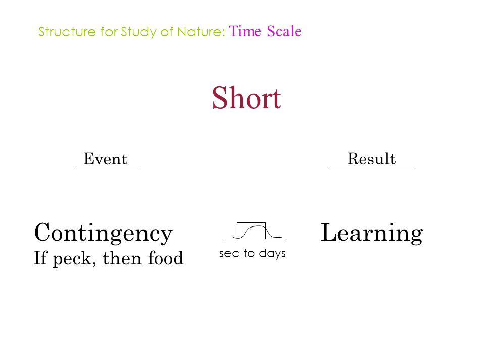 Short Event Contingency If peck, then food Result Learning sec to days Structure for Study of Nature: Time Scale