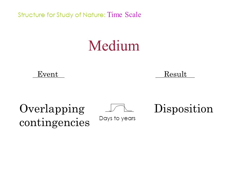 Medium Event Overlapping contingencies Result Disposition Days to years Structure for Study of Nature: Time Scale