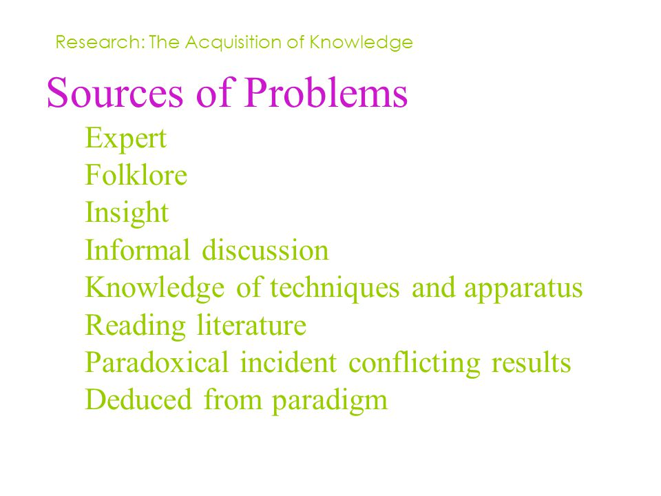 Sources of Problems Expert Folklore Insight Informal discussion Knowledge of techniques and apparatus Reading literature Paradoxical incident conflicting results Deduced from paradigm Research: The Acquisition of Knowledge