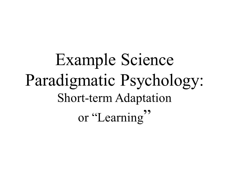 Example Science Paradigmatic Psychology: Short-term Adaptation or Learning