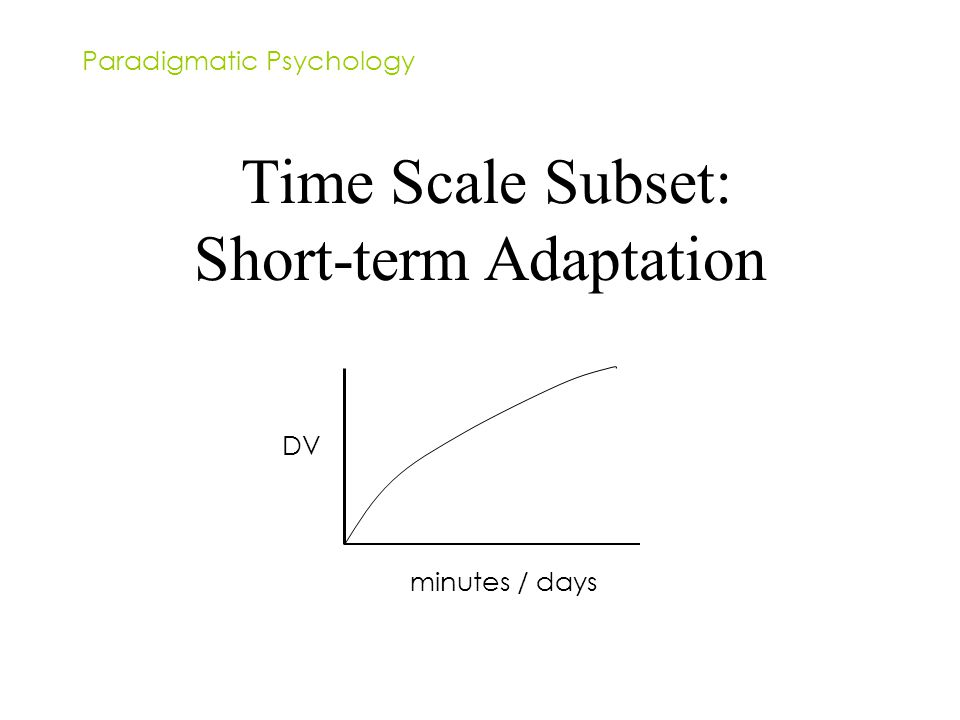 Time Scale Subset: Short-term Adaptation Paradigmatic Psychology DV minutes / days
