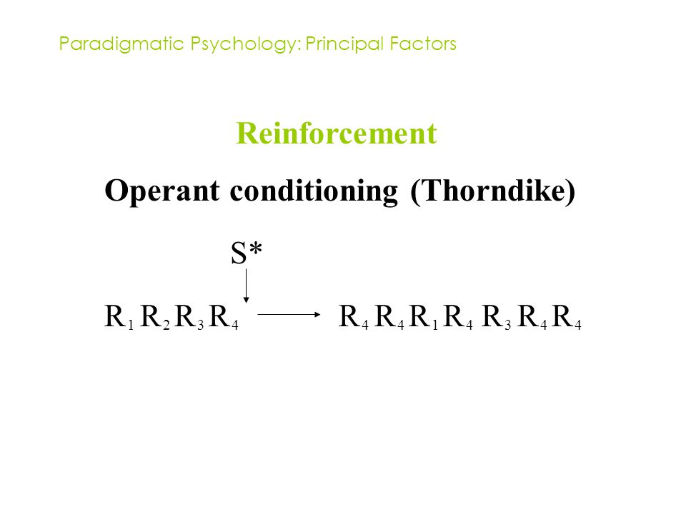 Paradigmatic Psychology: Principal Factors Reinforcement Operant conditioning (Thorndike) R 1 R 2 R 3 R 4 R 4 R 4 R 1 R 4 R 3 R 4 R 4 S*
