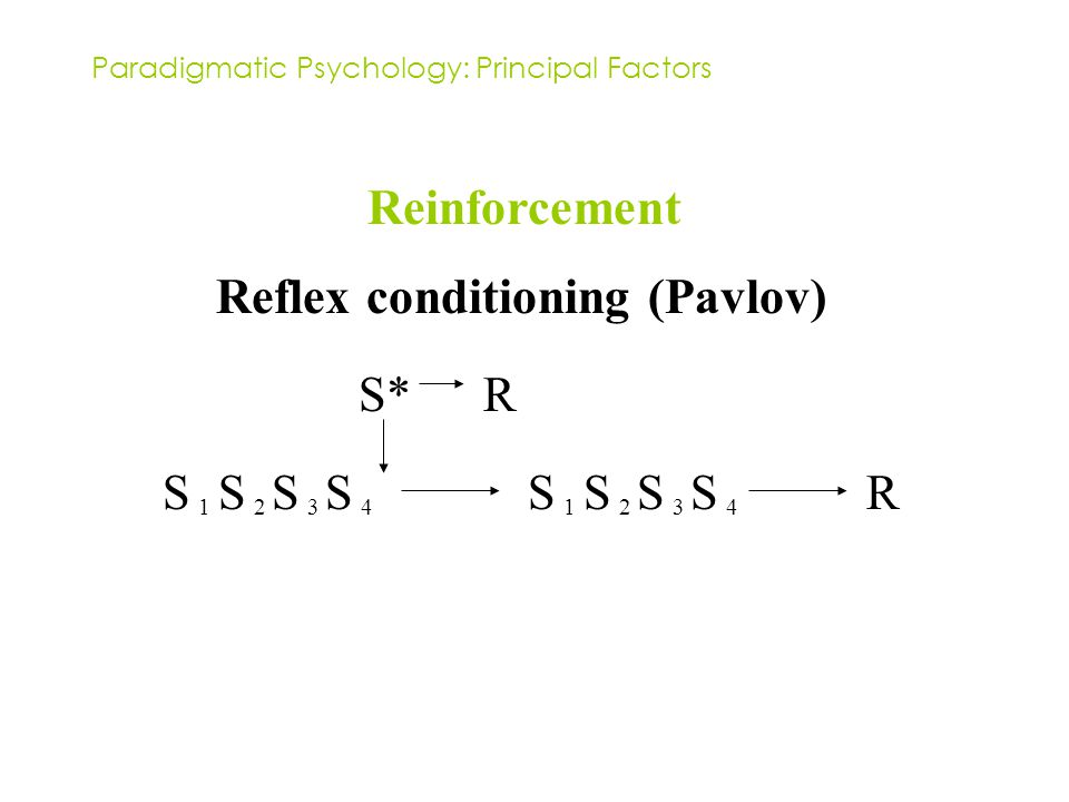 Paradigmatic Psychology: Principal Factors Reinforcement Reflex conditioning (Pavlov) S 1 S 2 S 3 S 4 S 1 S 2 S 3 S 4 R S*R