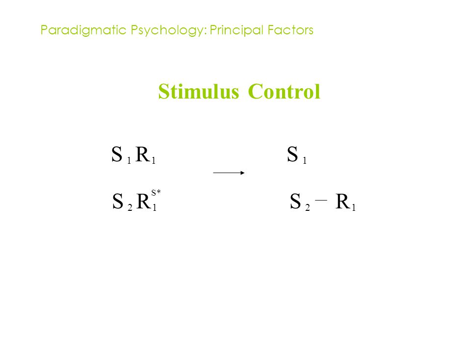 Paradigmatic Psychology: Principal Factors Stimulus Control S 1 R 1 S* S 2 R 1 S 1 S 2 R 1