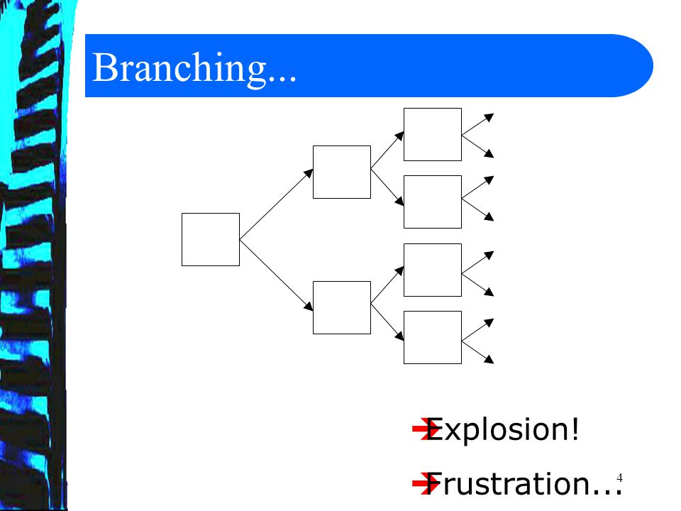 4 Branching...  Explosion!  Frustration...