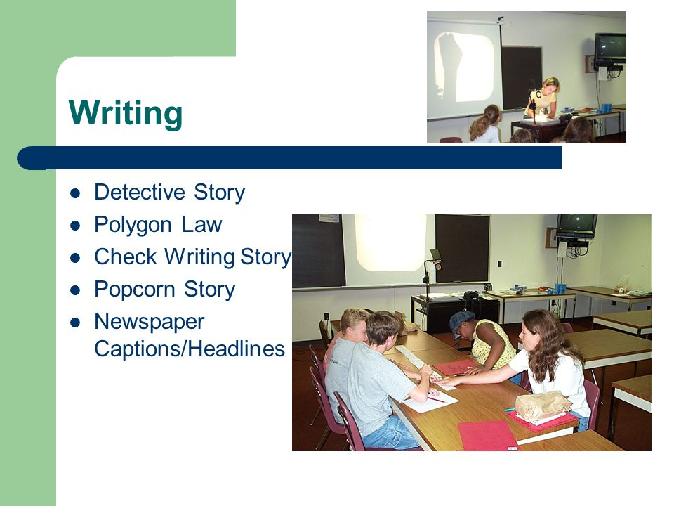 Writing Detective Story Polygon Law Check Writing Story Popcorn Story Newspaper Captions/Headlines
