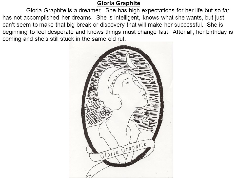 Gloria Graphite Gloria Graphite is a dreamer.