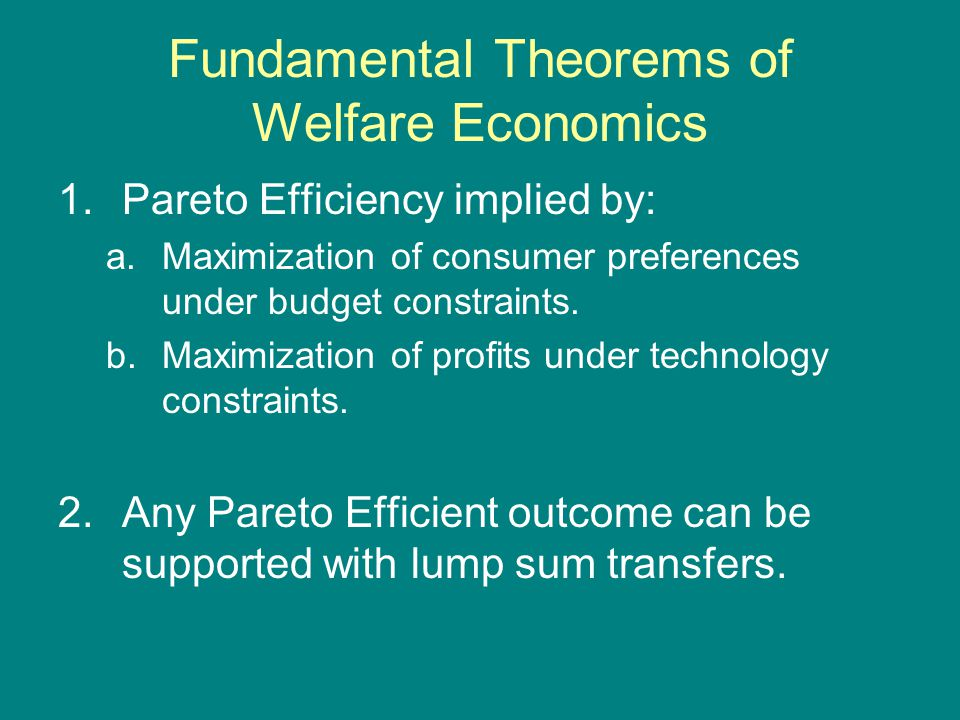 Fundamental Theorems of Welfare Economics 1.Pareto Efficiency implied by: a.Maximization of consumer preferences under budget constraints.