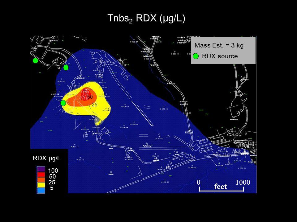 Tnbs 2 RDX (µg/L) 45 1 90 45 10 TCE µg/L 5 25 50 75 50 25 5 RDX µg/L 100 Mass Est.