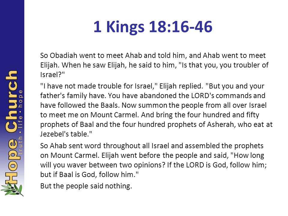 So Obadiah went to meet Ahab and told him, and Ahab went to meet Elijah. When he saw Elijah, he said to him,