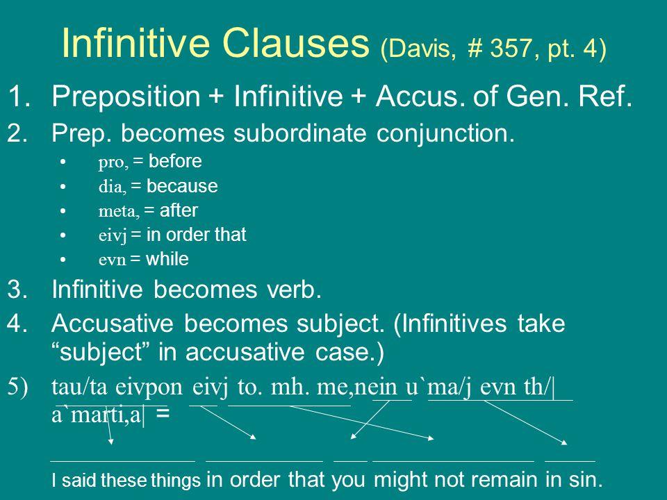 Infinitive Clauses (Davis, # 357, pt. 4) 1.Preposition + Infinitive + Accus.