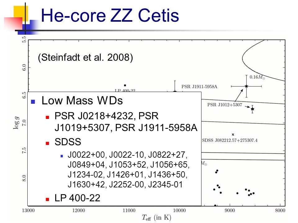 He-core ZZ Cetis Low Mass WDs PSR J0218+4232, PSR J1019+5307, PSR J1911-5958A SDSS J0022+00, J0022-10, J0822+27, J0849+04, J1053+52, J1056+65, J1234-02, J1426+01, J1436+50, J1630+42, J2252-00, J2345-01 LP 400-22 (Steinfadt et al.