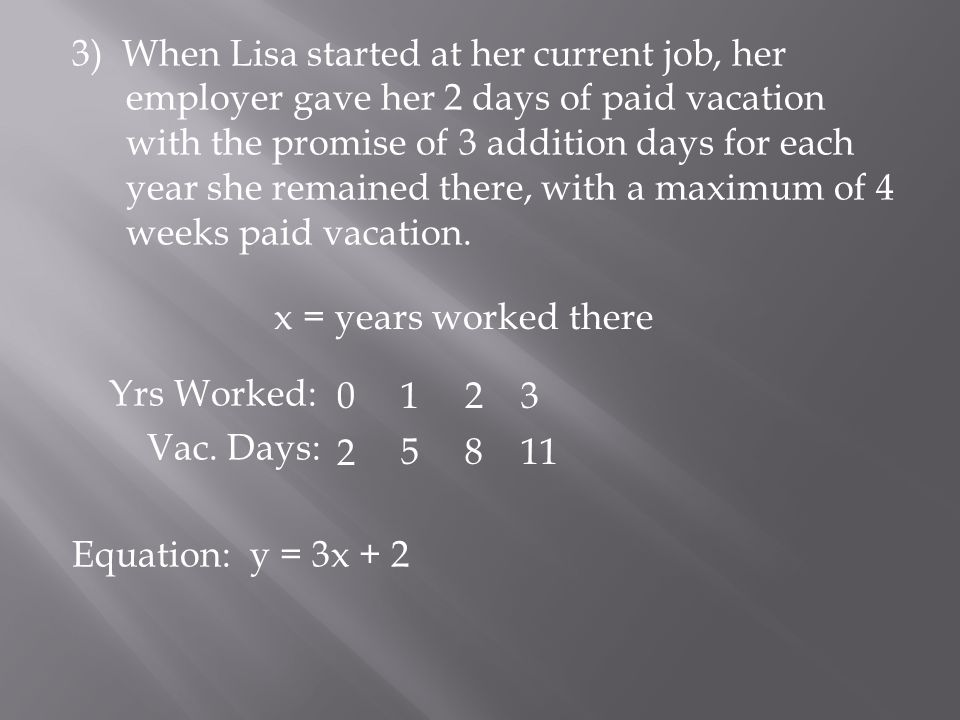 3) When Lisa started at her current job, her employer gave her 2 days of paid vacation with the promise of 3 addition days for each year she remained